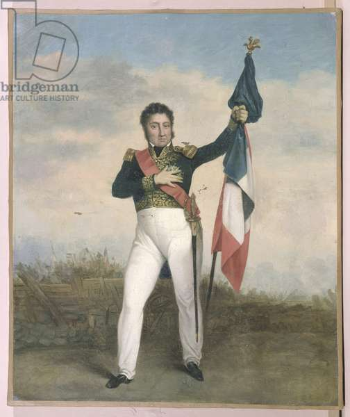 Louis-Philippe (1773-1850) bearing the tricolore flag on the barricades during Revolution of 1830 (oil on canvas)