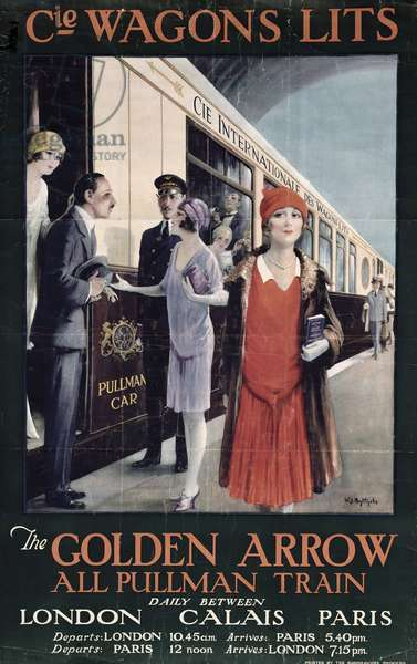 Poster advertising the Golden Arrow, London, Calais, Paris, c.1920 (colour litho)