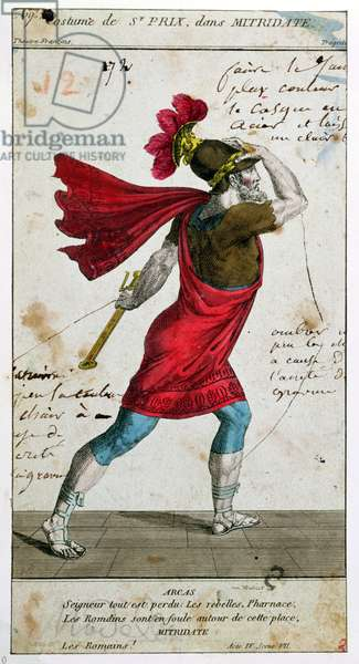 Costume of Saint-Prix in the tragedy 'Mithridate' by Racine, 18th/19th century (colour engraving)