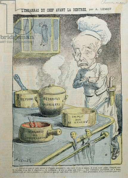 'L'Embarras du Chef Avant la Rentree', caricature critical of Georges Clemenceau (1841-1929), 1906 (colour litho)