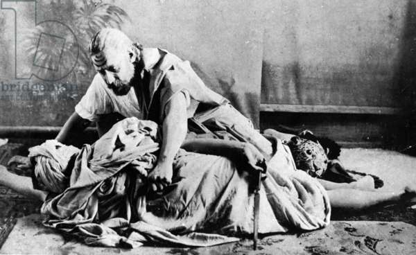 Rabindranath Tagore in the role of Raghupati in his play 'Sacrifice', 1893 (b/w photo)