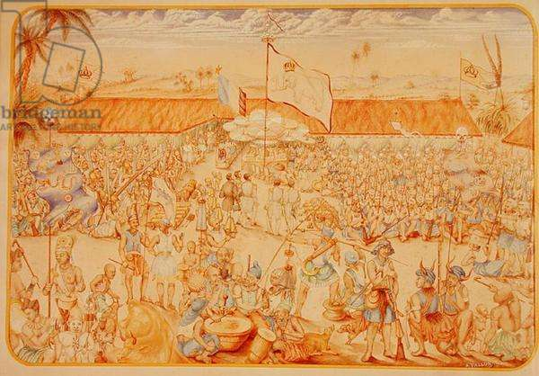 Reception given by the King of Dahomey for the French Envoys, 1856 (w/c on paper)