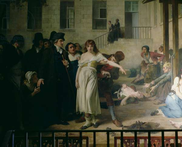 Philippe Pinel (1745-1826) releasing lunatics from their chains at the Salpetriere asylum in Paris in 1795, 1886 (oil on canvas) (detail see also 164470)