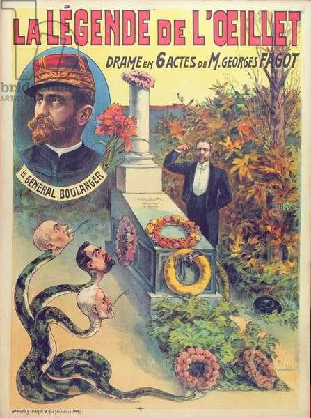 Poster advertising 'La legende de L'Oeillet', a play by Georges Fagot (colour litho)