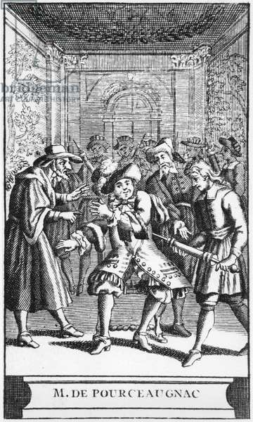 Frontispiece illustration from 'Monsieur de Pourceaugnac' by Moliere, c.1669 (engraving) (b/w photo)
