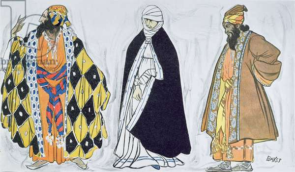 Costume designs for 'Le Martyre de Saint Sebastien', a dramatic work commissioned by Ida Rubinstein with libretto by Gabriele d'Annunzio, music by Claude Debussy, choreography by Mikhail Fokine, costumes and decor by Leon Bakst, illustration from 'Le Theatre' magazine, 1 June, 1911 (colour litho)