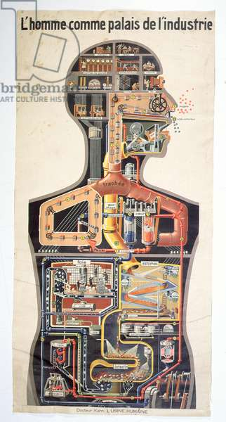 Man as the Palace of Industry, from 'The Human Factory' by Doctor Kahn, c.1930-35 (colour engraving)