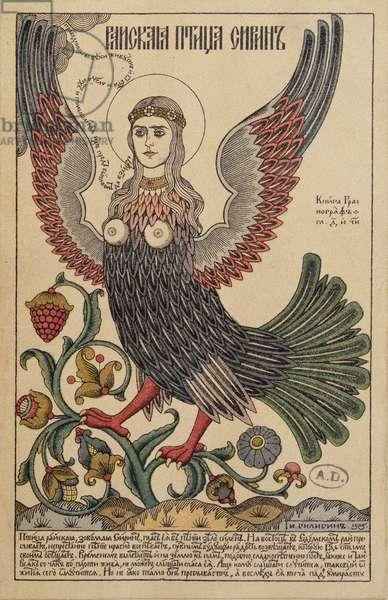 Postcard depicting a harpy, 1905 (colour litho)