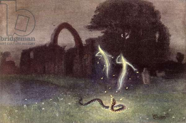 Will-o'-the-wisp and Snake (colour litho)
