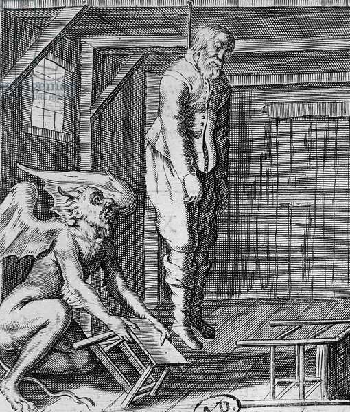 Suicide (engraving) (b/w photo)