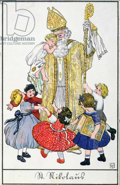 Christmas card with St. Nicholas, 1929 (colour litho)