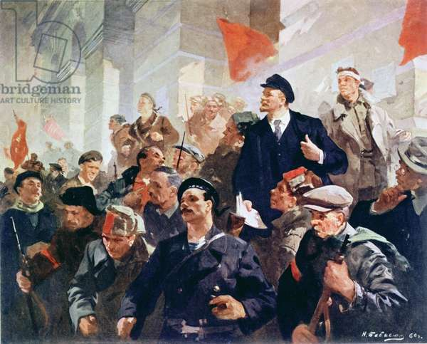 'The First Day of Soviet Power in 1917', 1960 (colour litho)