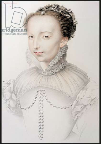 Portrait of Catherine de Medici (1519-89), facsimile of a 16th century drawing appearing in 'Portraits of the Most Famous French Personalities of the 16th Century', by P.G. Niel, Paris, 1848 (graphite on paper)