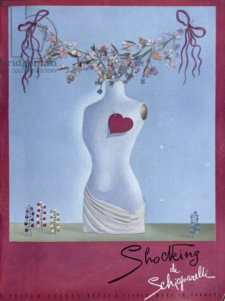 Advertisement for the perfume 'Shocking' by Schiaparelli, illustration from 'Vogue' Magazine, November 1938 (colour litho)