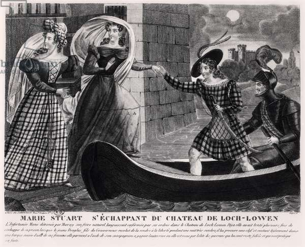 Mary Stuart (1542-87) Escaping from Loch Leven Castle (engraving) (b/w photo)