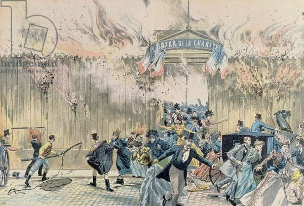 Fire at the Bazar de la Charite, 4th May 1897, from 'Le Pelerin', 1897 (coloured engraving)
