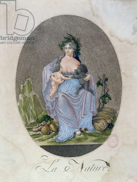 Nature Breastfeeding a Black Baby and a White Baby, c.1792 (coloured engraving)
