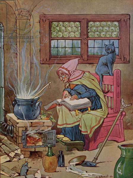 Witch, illustration from a book of tales, c.1910-20 (colour engraving)