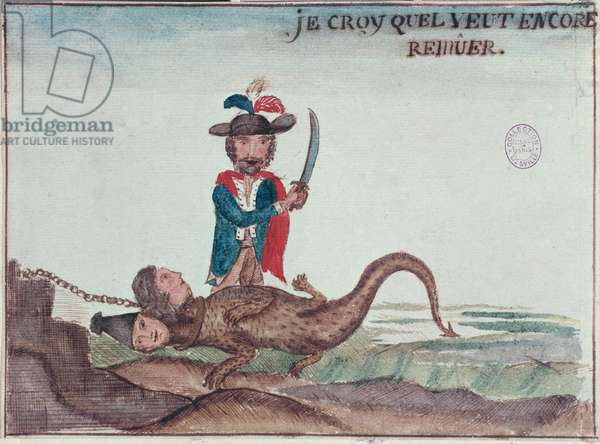 'I think it is still moving', 1789 (coloured engraving)