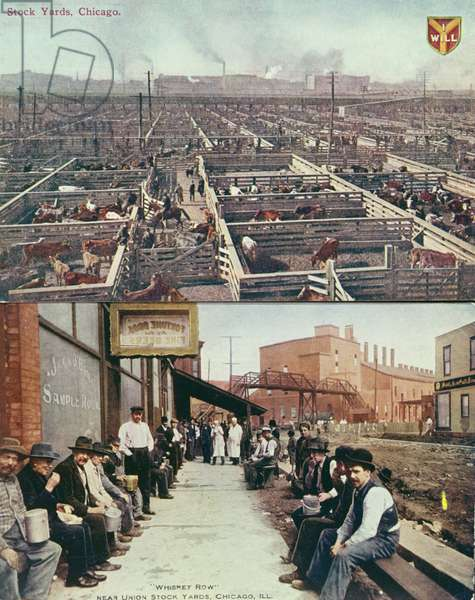 Postcard depicting the stock yards & abattoirs of Chicago and workers with lunch pails on their break in 'Whiskey Row', c.1910 (coloured photo)
