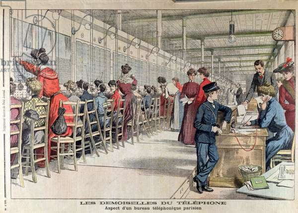 Women Operators at the Bureau Central de l'Opera Telephone Exchange, from 'Le Petit Journal', published 17th April 1904 (coloured engraving)