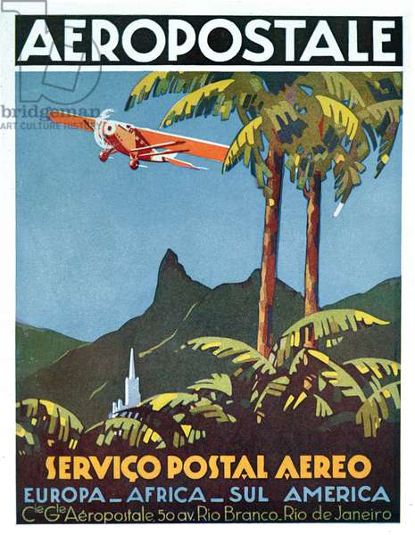 Advertisement for the French airmail service, 1929 (colour litho)