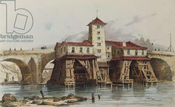 The Pump of Pont Notre Dame, 1836 (colour litho)