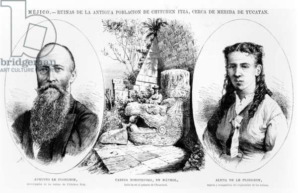 Mexico - Ruins of the ancient population of Chitchen Itza, near Merida, Yucatan, illustration from 'La Illustracion Espanola y Americana' 1877 (engraving)