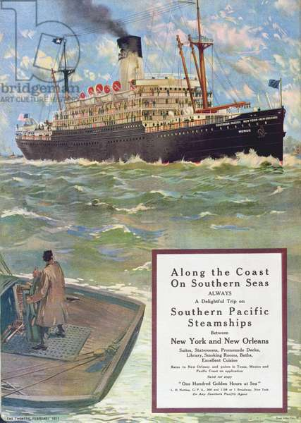 Advertisement for 'Southern Pacific Steamships', from 'Theatre' magazine, 1911 (colour litho)