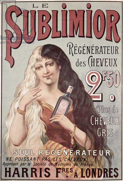 Advertisement for 'Le Sublimior', Hair Restorer, early 20th c. (colour litho)