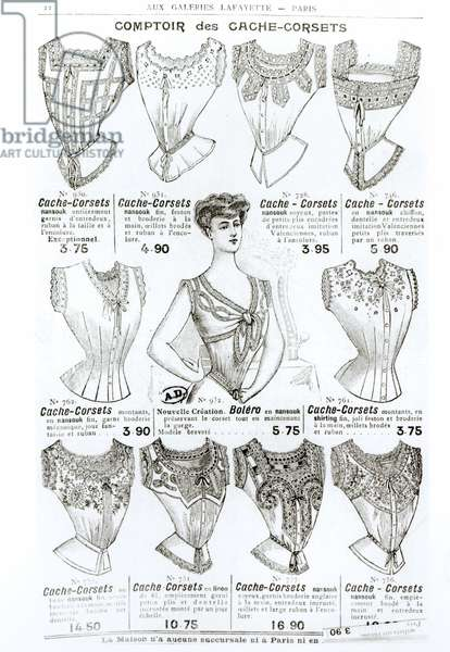 Advertisement for corsets and undergarments, from the 'Comptoir des Cache-Corsets', c.1900 (engraving) (b/w photo)