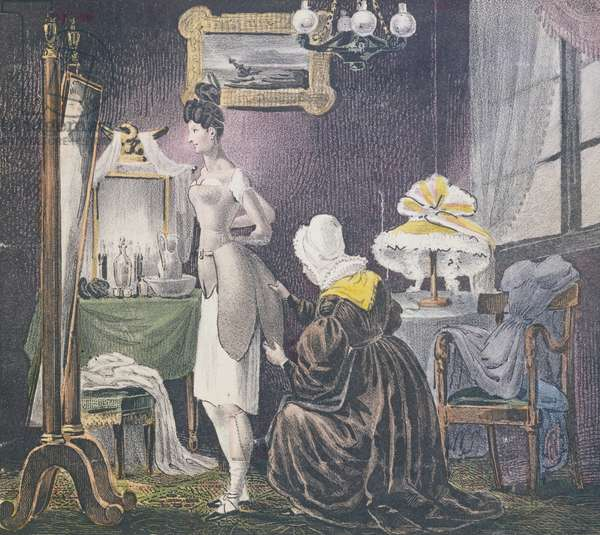 Maid assisting her mistress to dress in padding for breasts and bottom, c.1830 (colour litho)