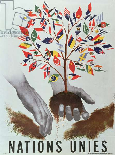 Planting the Tree of Nations, poster for the United Nations, 1947 (colour litho)