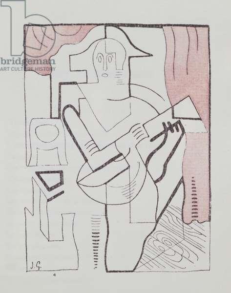 Illustration for 'La Guitare Endormie' by Pierre Reverdy (1889-1960) 1919 (coloured engraving)