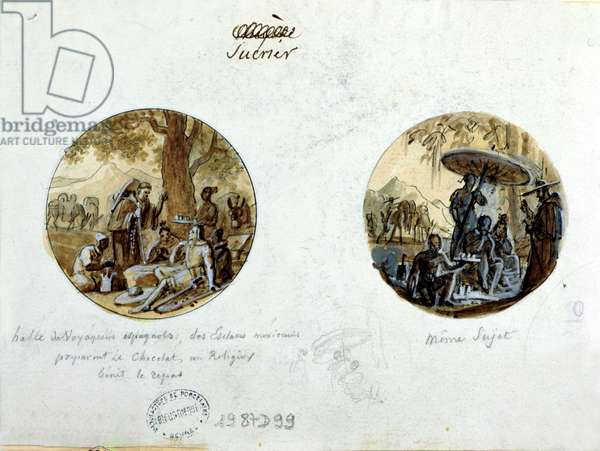 Spanish travellers resting while their Mexican slaves prepare chocolate and a priest blesses the meal, design for a Sevres sugar bowl, c.1830 (pen & ink wash and bodycolour on paper)