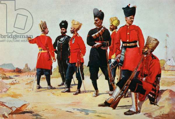 Uniforms of the British Army in India at the start of the First World War (colour litho)