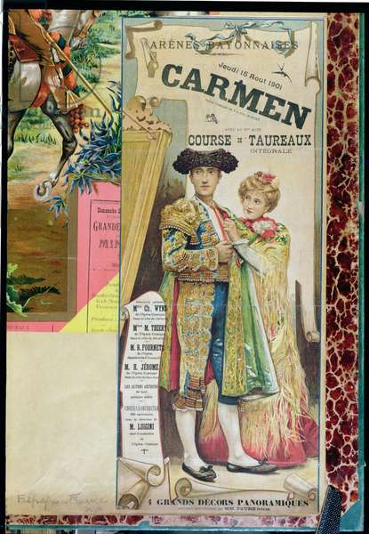 Poster advertising a performance of 'Carmen' by Georges Bizet (1838-75) in Bayonne arenas, 15th August 1901 (colour engraving)