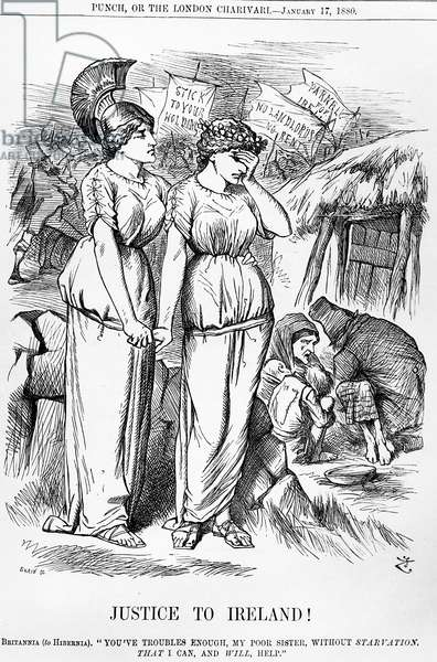'Justice to Ireland!', engraved by Joseph Swain, from 'Punch', January 17, 1880 (engraving)