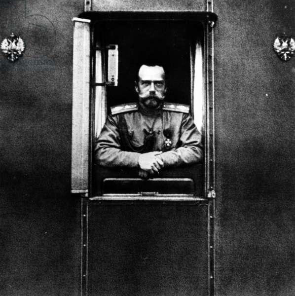 Tsar Nicholas II on the Imperial Train, c.1916 (b/w photo)