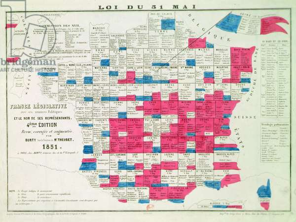 Legislative Map of France following the Universal Suffrage law voted on the 31st May 1850, printed by Burty, Paris (1851)