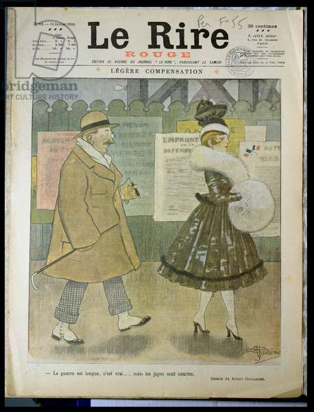 'The War is long, it is true....but skirts are short', front cover of 'Le Rire', 15th January 1916 (colour litho)