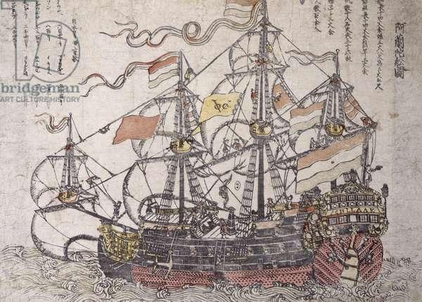 A Dutch Ship (colour woodblock print)
