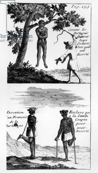 Punishment for fugitive slaves, from 'Relation du Voyage de M. de Gennes' by Francois Froger, 1715 (engraving)