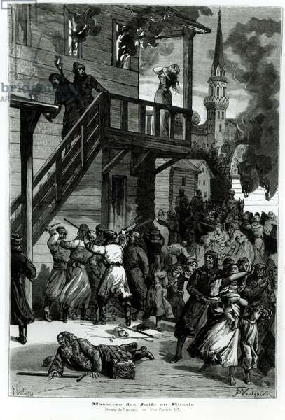 Slaughter of the Jews in Russia, engraved by Gustave Voulquin (fl.1880-90) from 'Le Journal Illustre', June 1881 (engraving) (b/w photo)