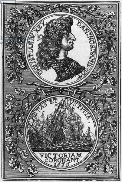 Christian V (1646-99) king of Denmark and Norway, illustration from 'Description de l'Univers' by Allain Manesson Mallet (1630-1706) published in Paris, 1683 (engraving) (b/w photo)
