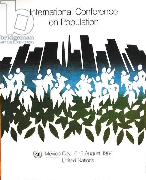 Poster advertising the International Conference on Population, organised by the U.N. at Mexico City, 6th-13th August 1984 (colour litho)