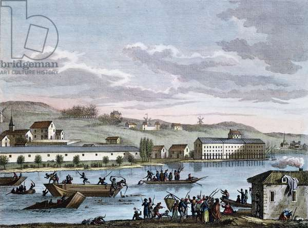 The Nantes Drownings, after the 'Historic Paintings of the French Revolution' series, engraved by Reinier Vinkeles (1741-1816) and Daniel Vrydag (1765-1822) late 18th century (coloured engraving)
