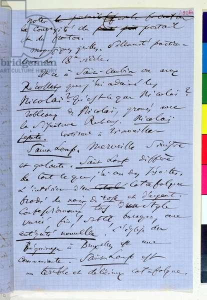 Page 302bis of Baudelaire's pamphlet 'Pauvre Belgique' describing his trip to Namur, 1864 (ink on paper)