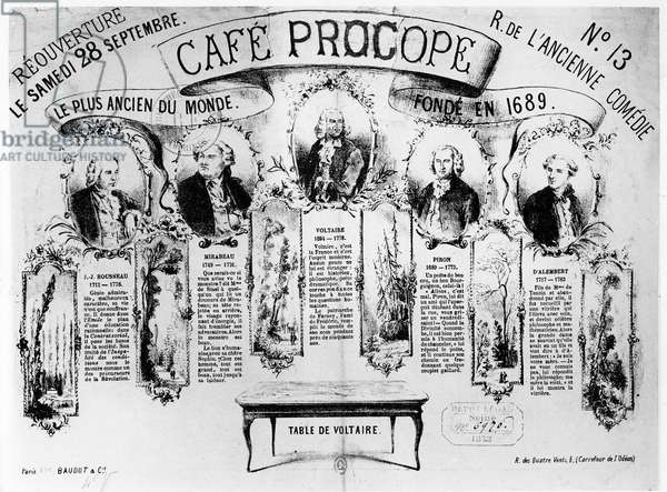 The Reopening of the Cafe Procope, 1872 (litho)