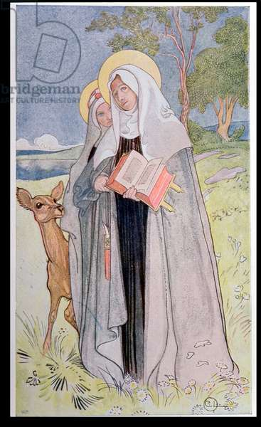St. Bridget of Sweden (c.1302-73) illustration from a book on famous women of Sweden, 1900 (colour litho)